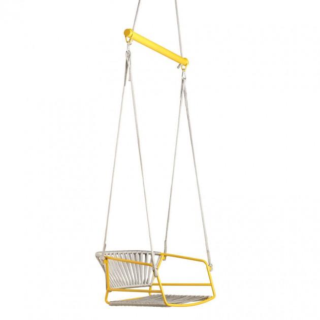 На фото: Крісло-гойдалка Lisa Swing Mustard Yellow Silver (2883ZY N84), Підвісні крісла S•CAB, каталог, ціна