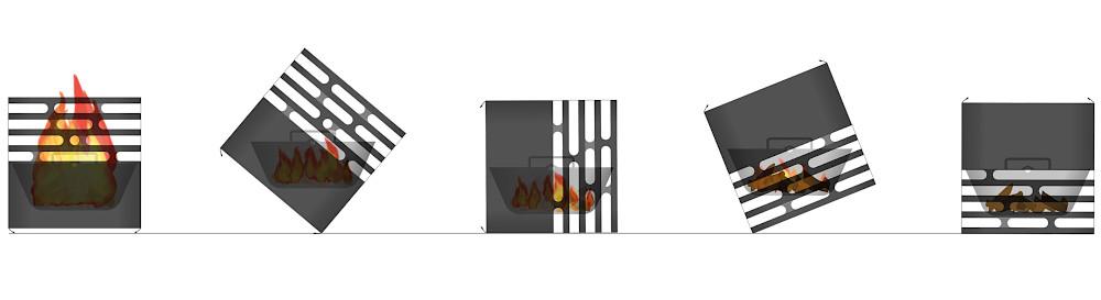 Багатофункціональний гриль-вогнище Cube Rusty